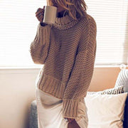 Casual High Collar Loose Long Sleeves Sweater