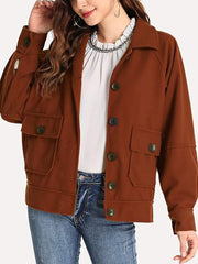 Casual Solid Color Lapel Long Sleeve Wool Jacket