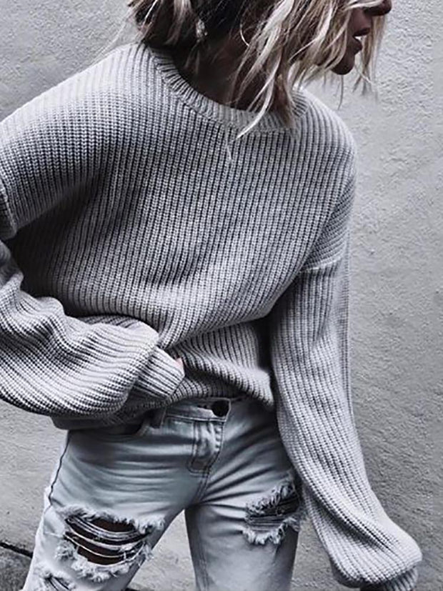 Women Casual Round Neck Solid Color Sweater