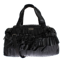 Black ruffled shoulder bag