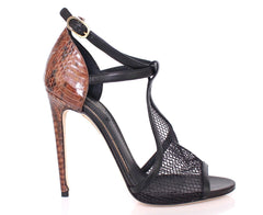 Black Snake Sandals Net Shoes Stiletto Heels