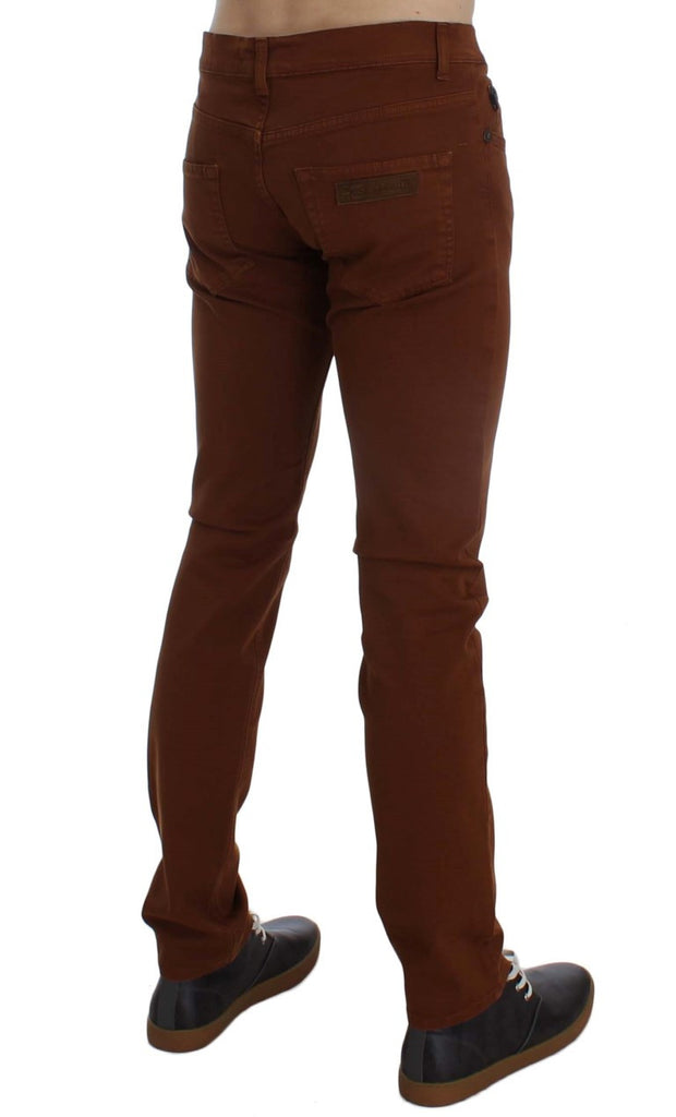 Orange Cotton Stretch Slim Fit Pants