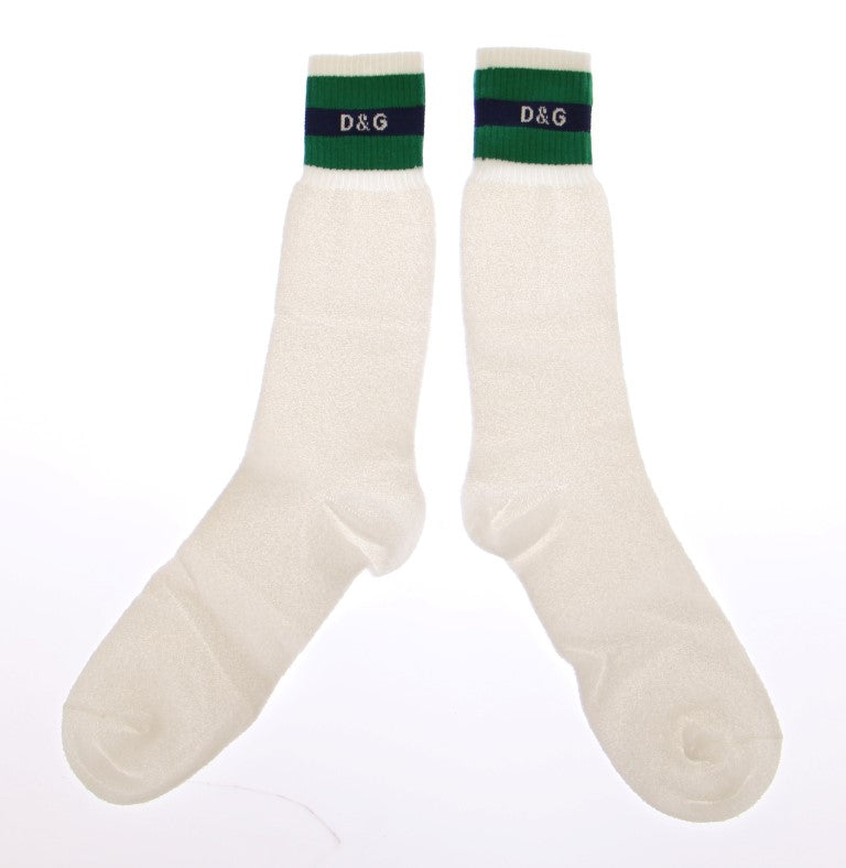 White Logo Cotton Stretch Socks