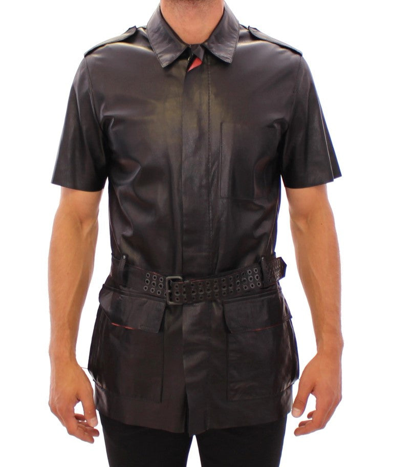 Black leather short sleeve jacket