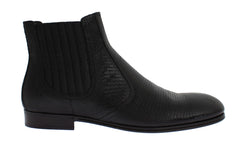 Black Lizard Leather Ankle Boots Shoes