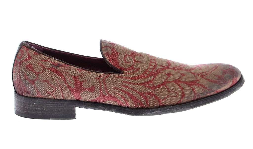 Red Gold Fabric Baroque Loafers Shoes