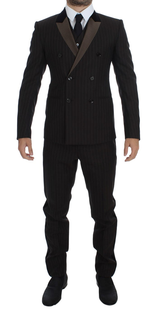 Brown Striped Wool Slim 3 Piece Suit Tuxedo