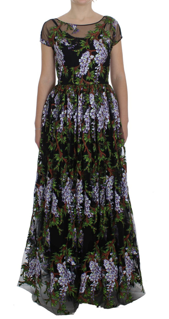 Black Floral Embroidered Full Maxi Dress