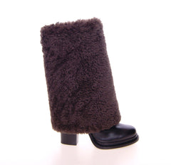 Brown Black Leather Shearling Boots Shoes