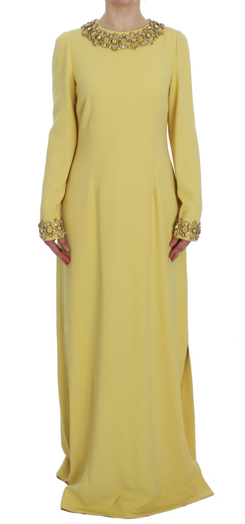 Yellow Silk Crystal Embellished Gown Dress