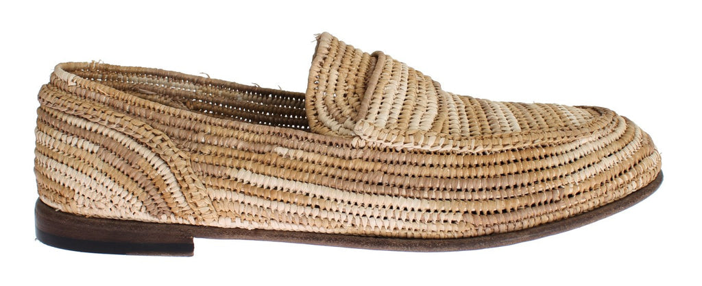 Beige Raffia Dress Formal Mens Loafers Shoes
