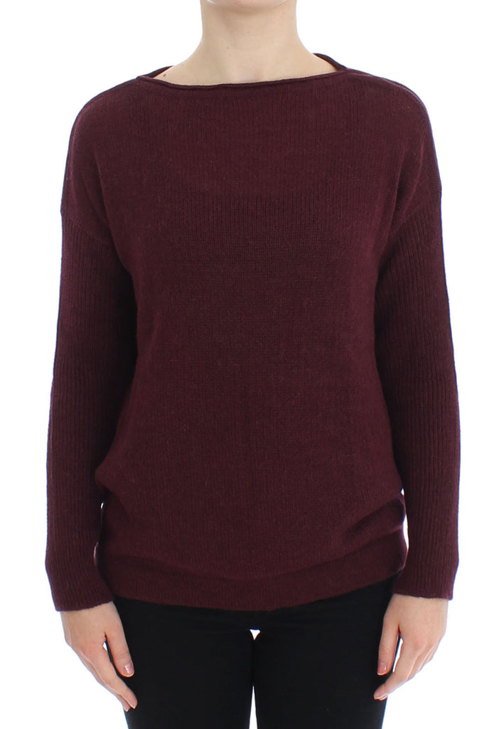 Bordeaux Knitted Pullover Sweater Top