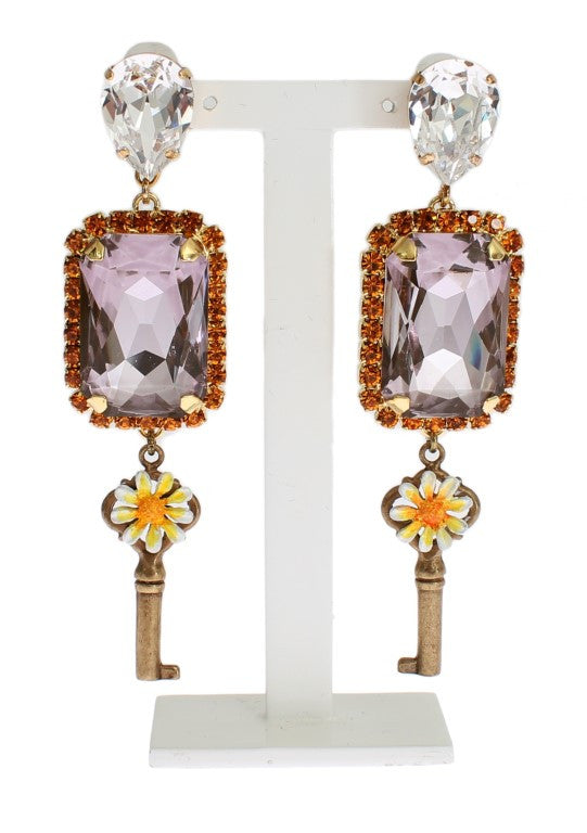 Gold Purple Crystal Key Earrings