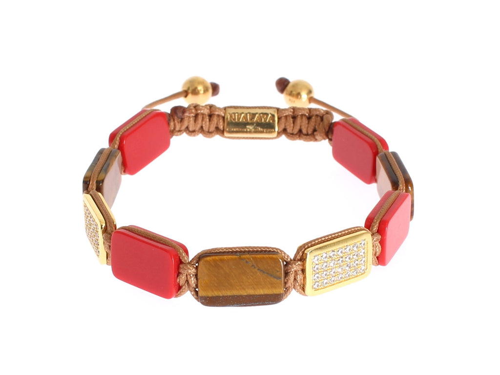 CZ Tiger Eye Coral Gold 925 Bracelet