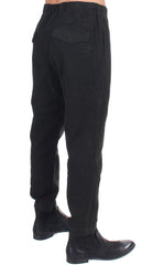 Black cotton stretch waist casual pants