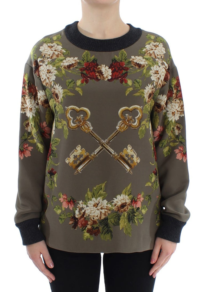Green Key Floral Print Silk Sweater