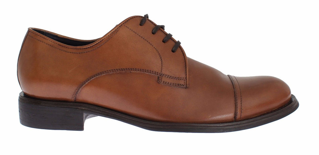 Mens Brown Leather Dress Formal Derby Shoes