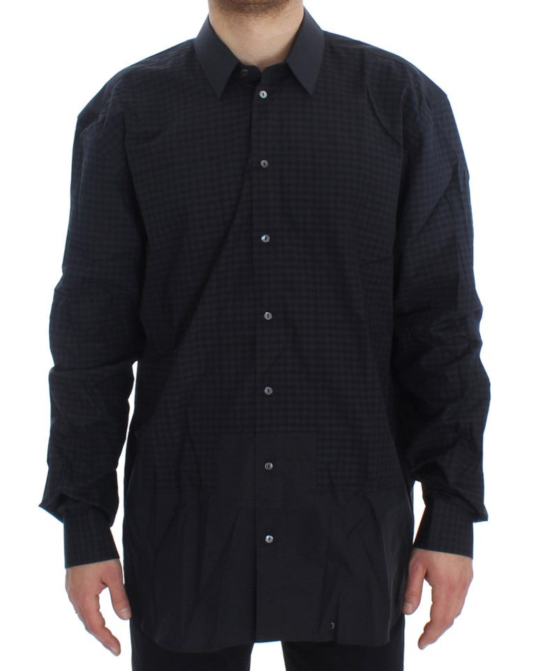 Blue Checkered Cotton Slim Fit Shirt