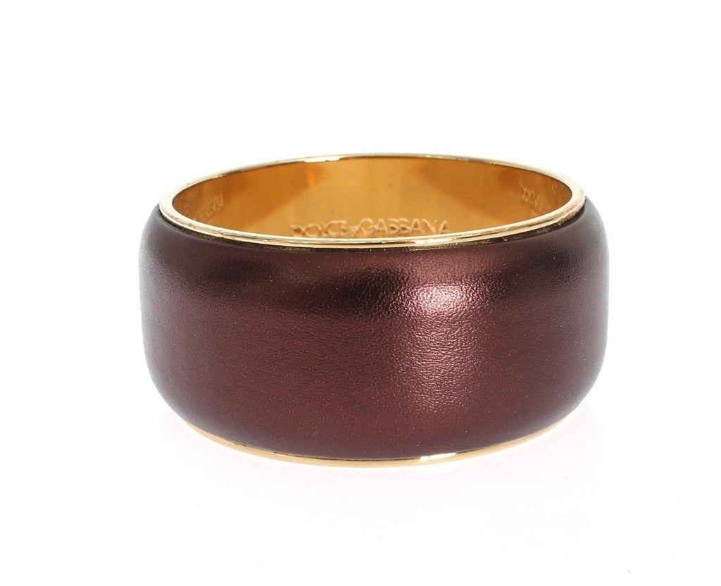 Purple Leather Gold Brass Bracelet