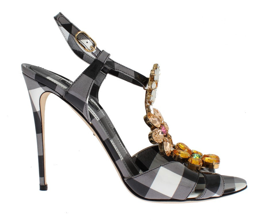 Checkered Leather Crystal Sandals Shoes
