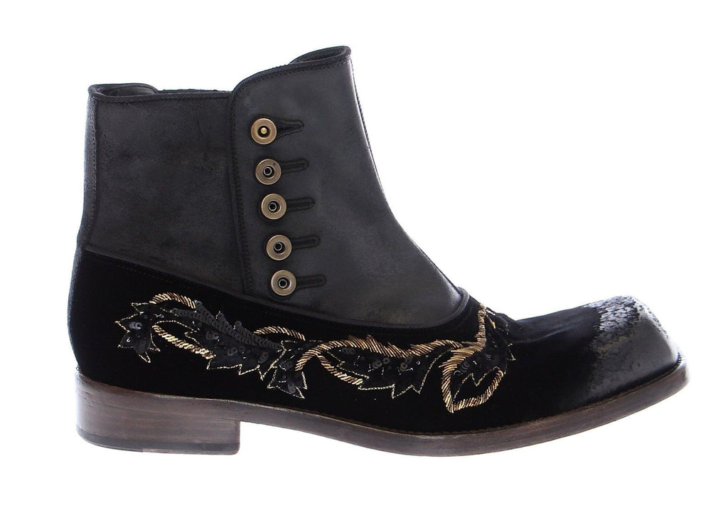Black Leather Gold Baroque Boots Shoes