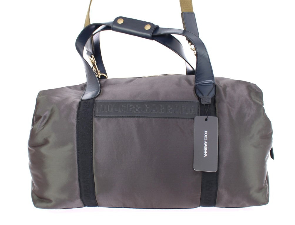Green nylon unisex boston bag