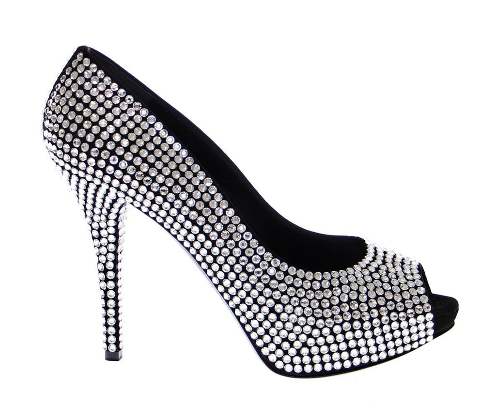 Black Leather Crystal Platform Shoes