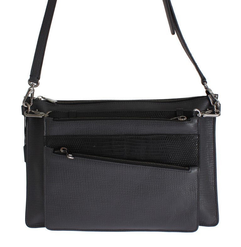 Gray Lizard Leather Shoulder Cross Body Messenger Bag