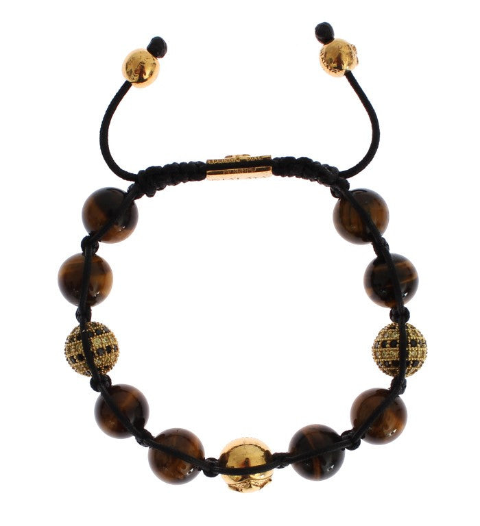 CZ Brown Tigers Eye 925 Silver Bracelet