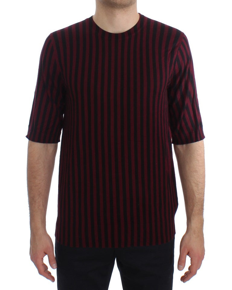 Black Red Striped Cashmere Silk T-shirt