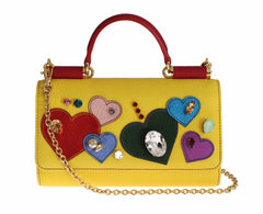 Purse VON Yellow Leather Heart Crystal Shoulder Hand Wallet