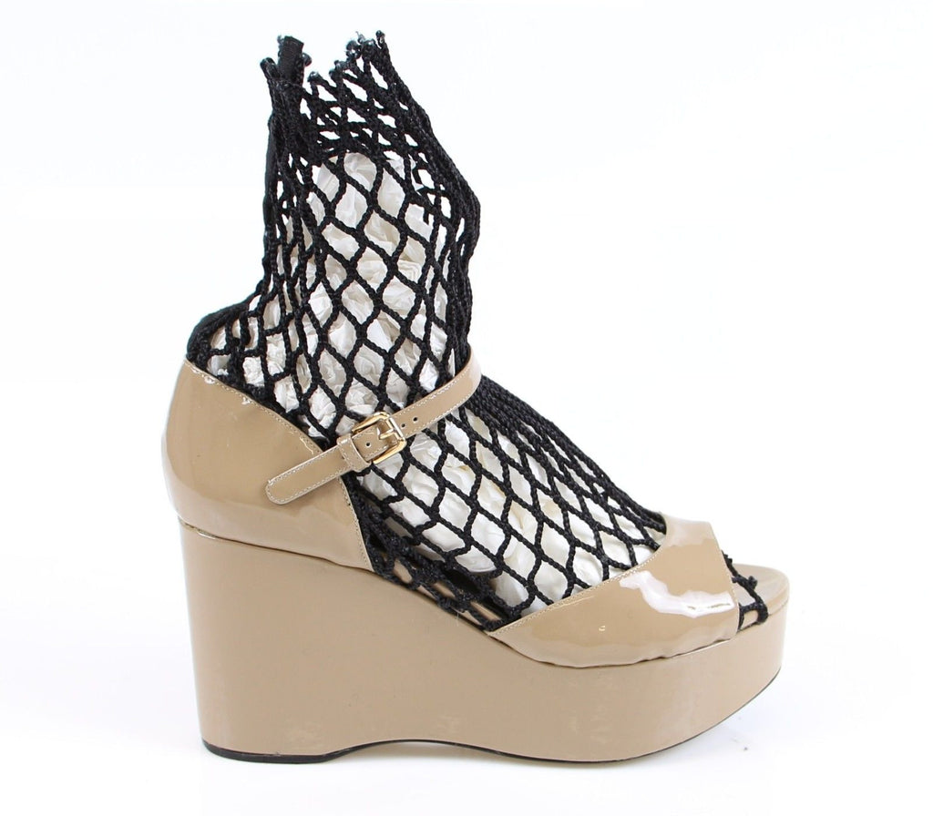 Beige Patent Wedge Sandals Platform Shoes