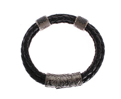 CZ Cord Leather Rhodium 925 Bracelet
