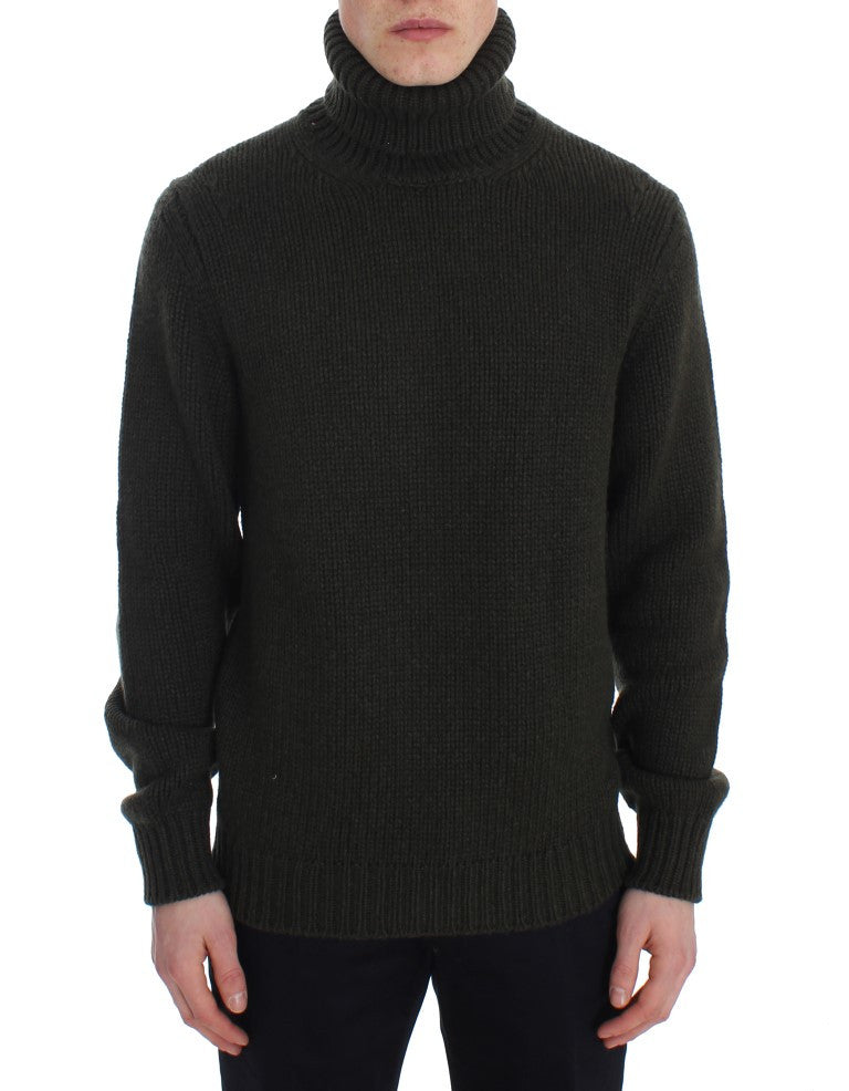 Green Knitted Cashmere Turtleneck Sweater