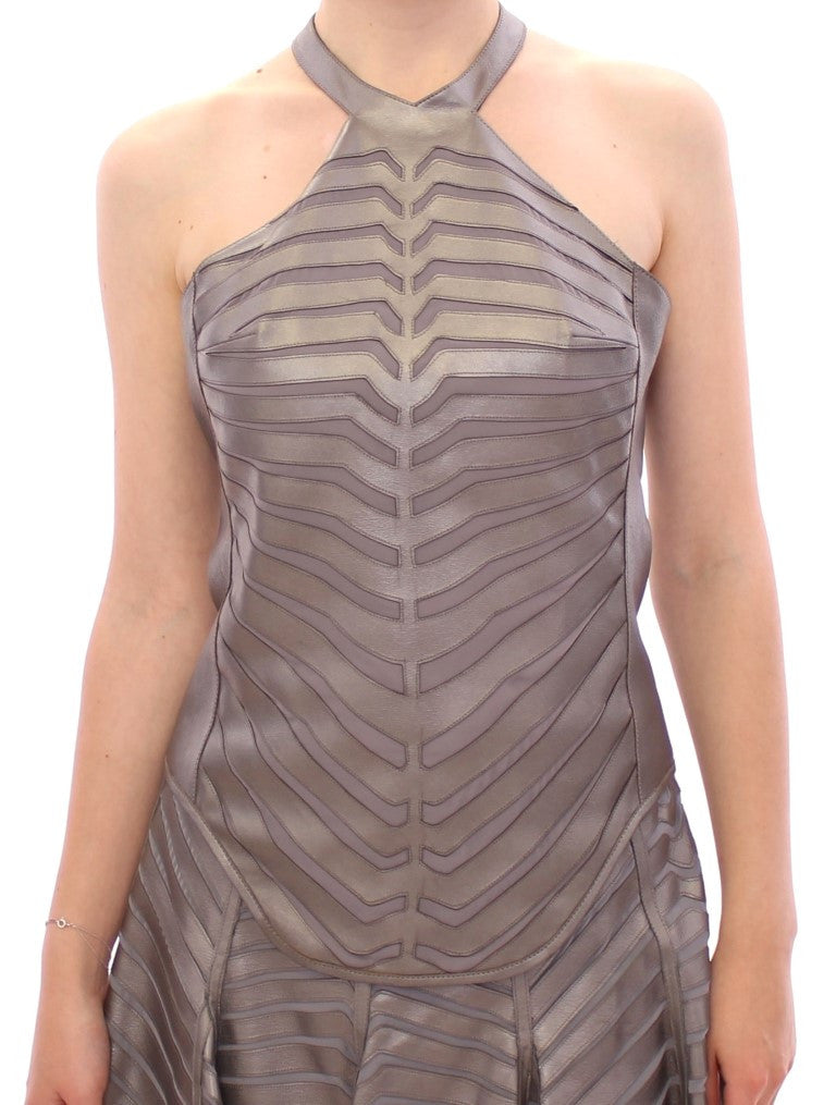 Silver Leather Striped Halter Neck Top