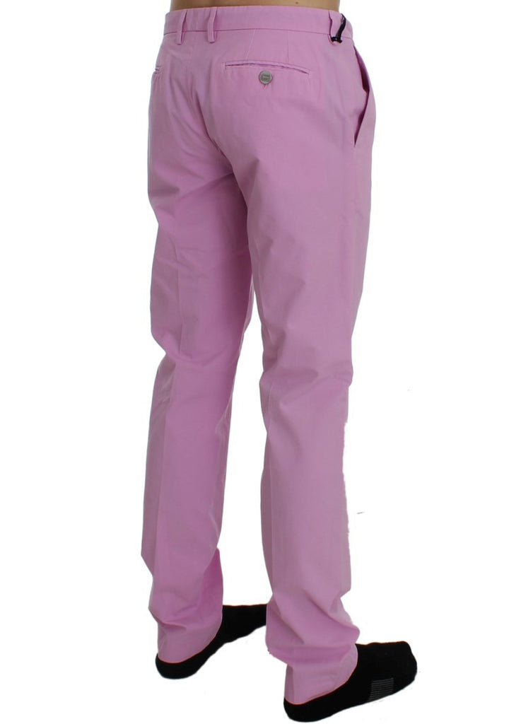 Pink Cotton Slim Chinos Pants