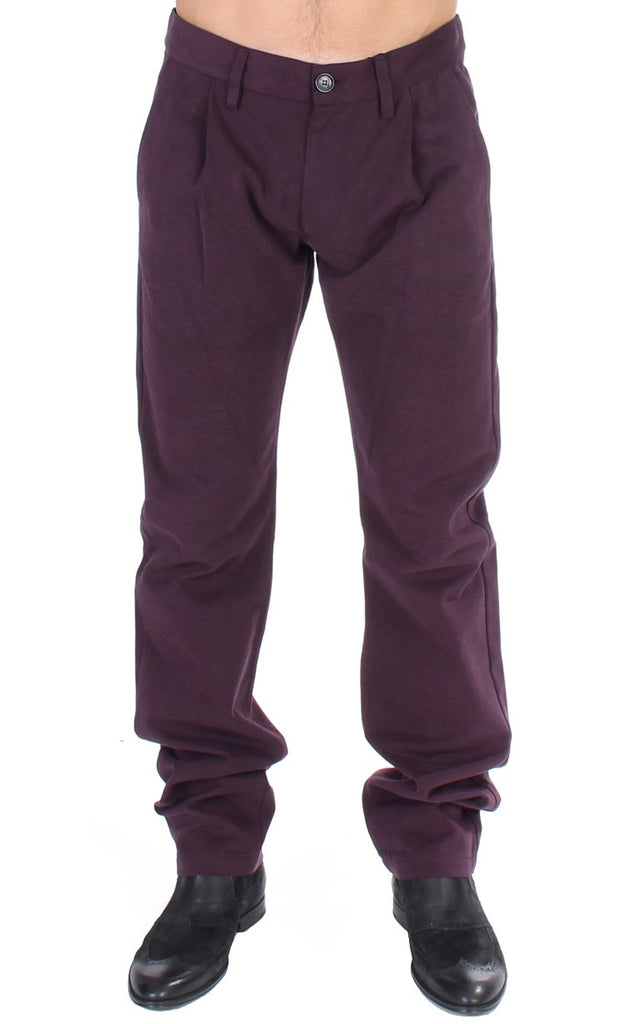 Purple Cotton Straight Fit Casual Pants