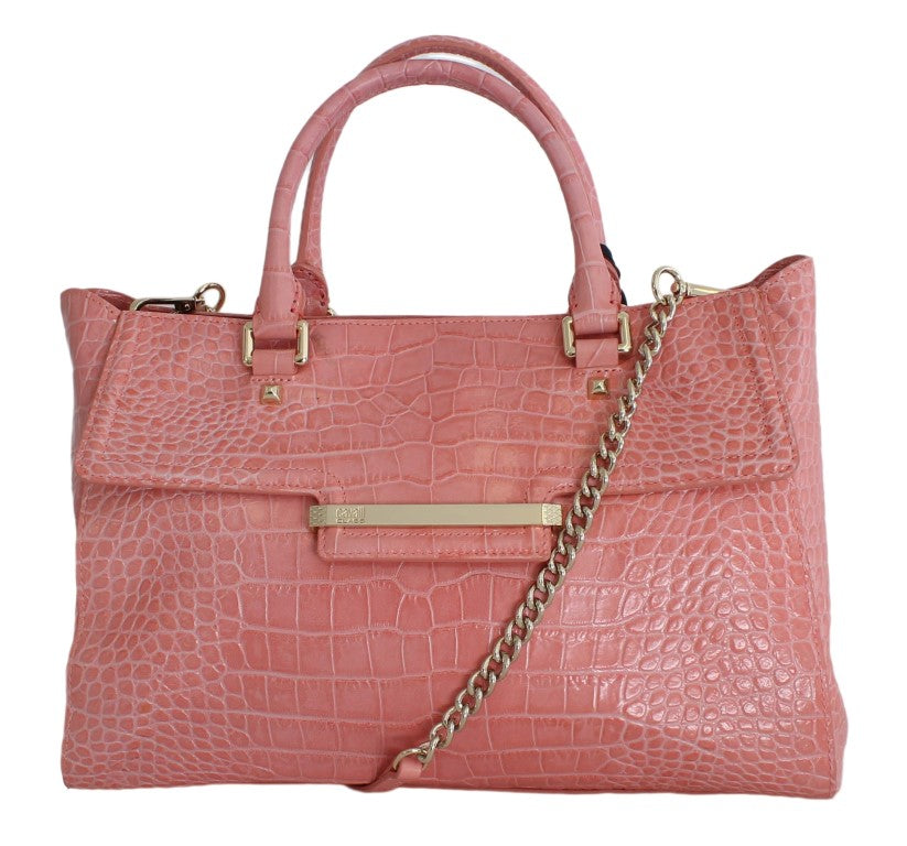 Pink Leather Satchel Hand Shoulder Bag