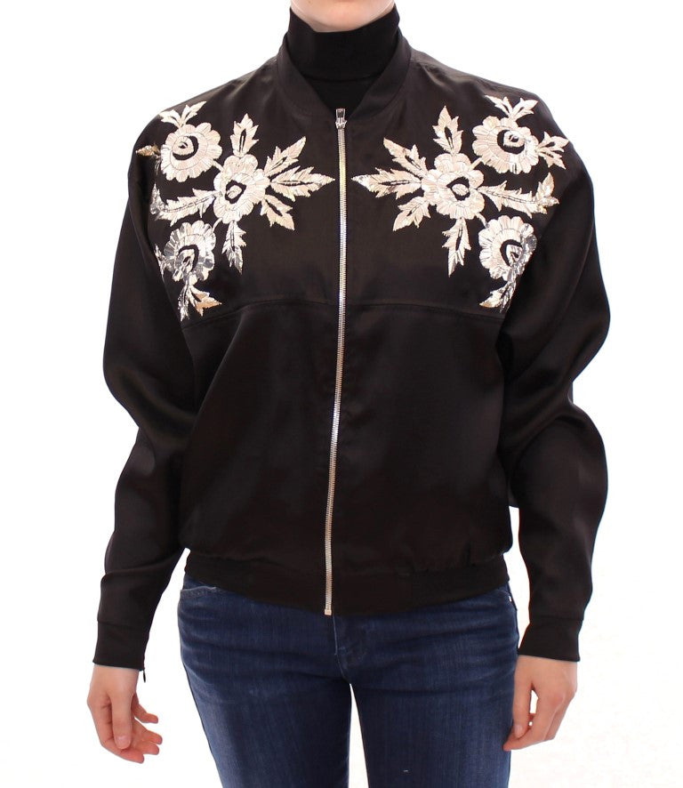 Black silk floral decorated jacket