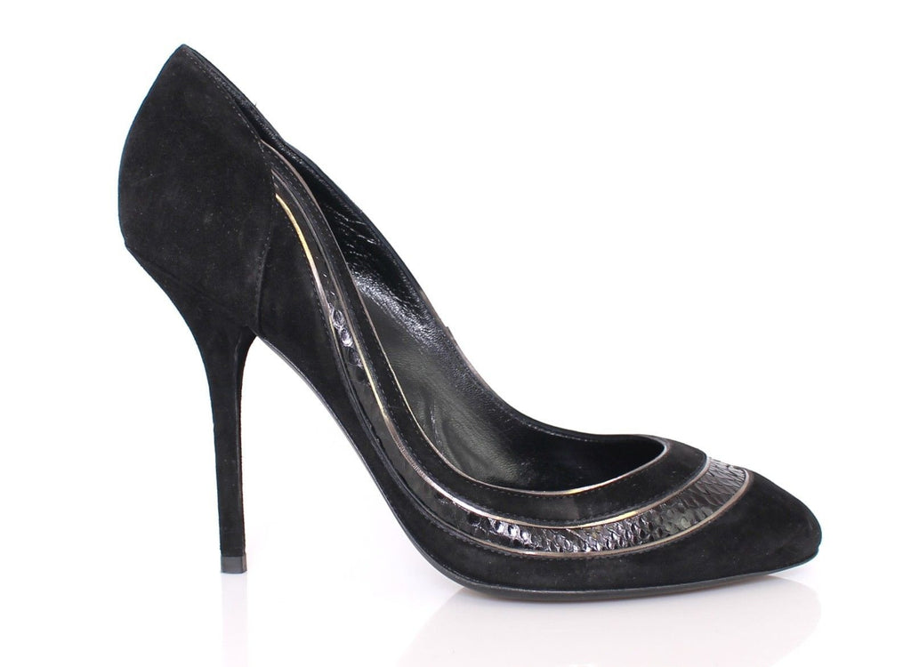 Black Snakeskin Suede Classic Pumps Heel Shoes