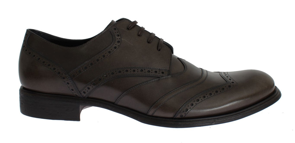 Brown Leather Wingtip Formal Dress Shoes