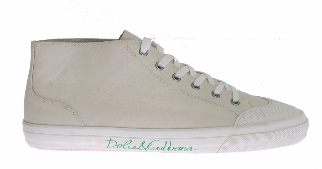 Beige Leather Ankle Casual Sneaker Shoes