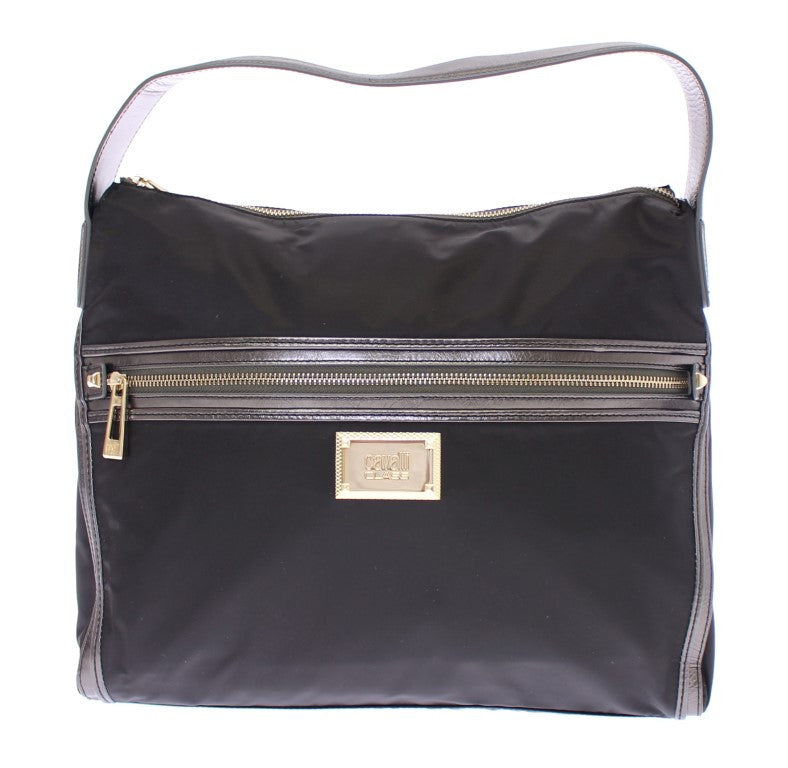 Black Gold Zipper Hobo Shoulder Bag