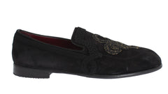 Black Leather Torero Detail Loafers