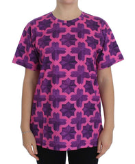 Pink Purple Cotton Motive T-shirt