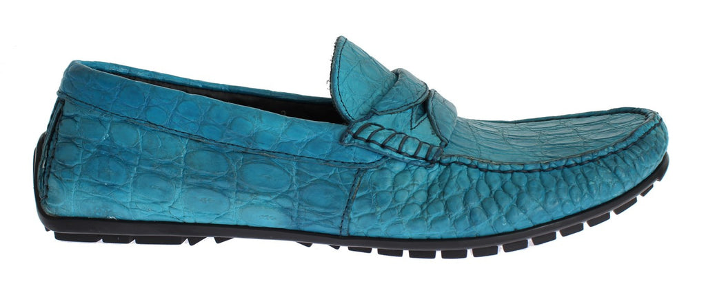 Blue Crocodile Mens Loafers Slip Ons Shoes