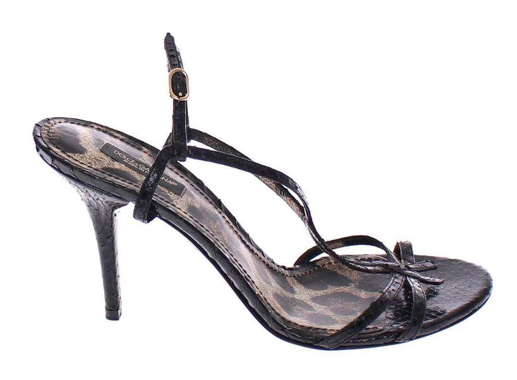 Black Python Leather Snakeskin Sandal Shoes