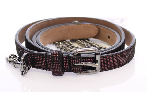 Purple Leather Logo Chain Belt