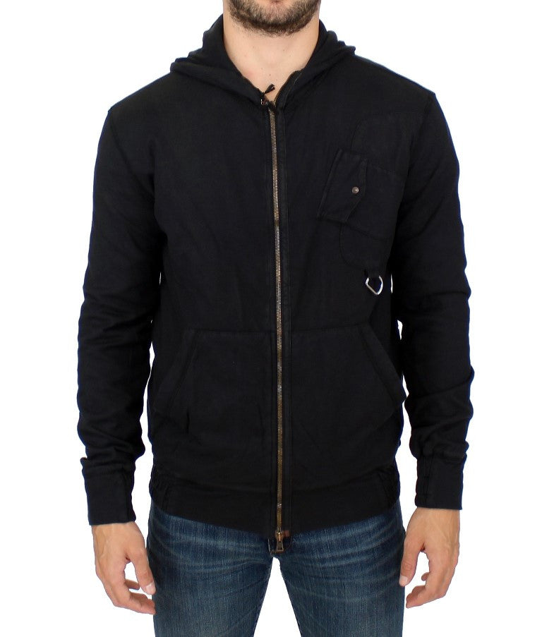 Black cotton hooded sweater