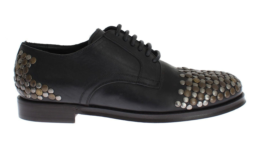 Black Leather Gold Silver Studded Shoes